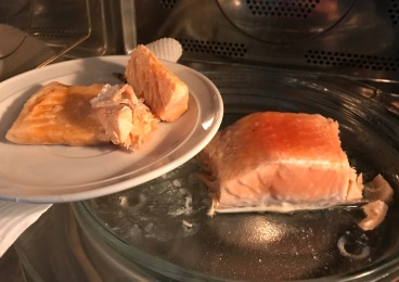 cut off cooked salmon